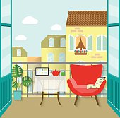 view from the balcony . flat vector illustration