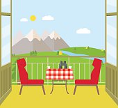 View from the balcony of the mountains. Vector flat illustration