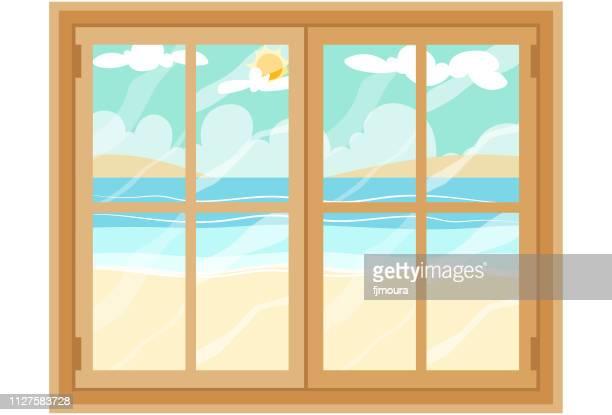 ilustraciones, imágenes clip art, dibujos animados e iconos de stock de vista desde la ventana playa - ventana
