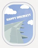 View from the window of an airliner. Happy holidays. Vector.