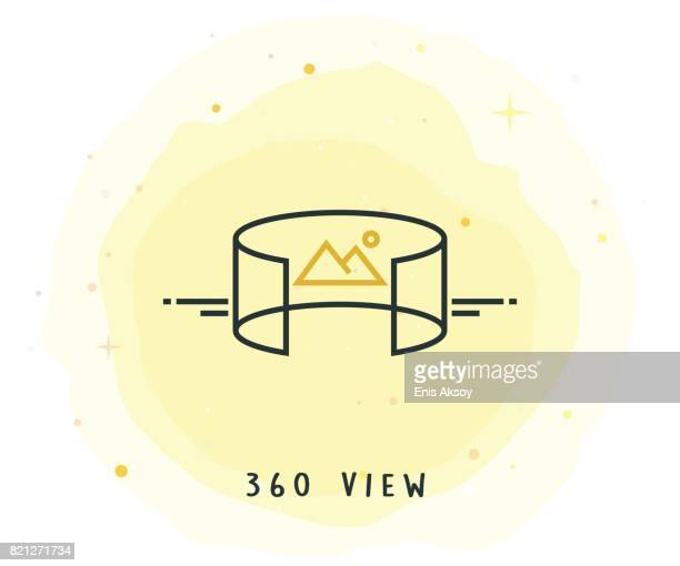 360 View Icon with Watercolor Patch