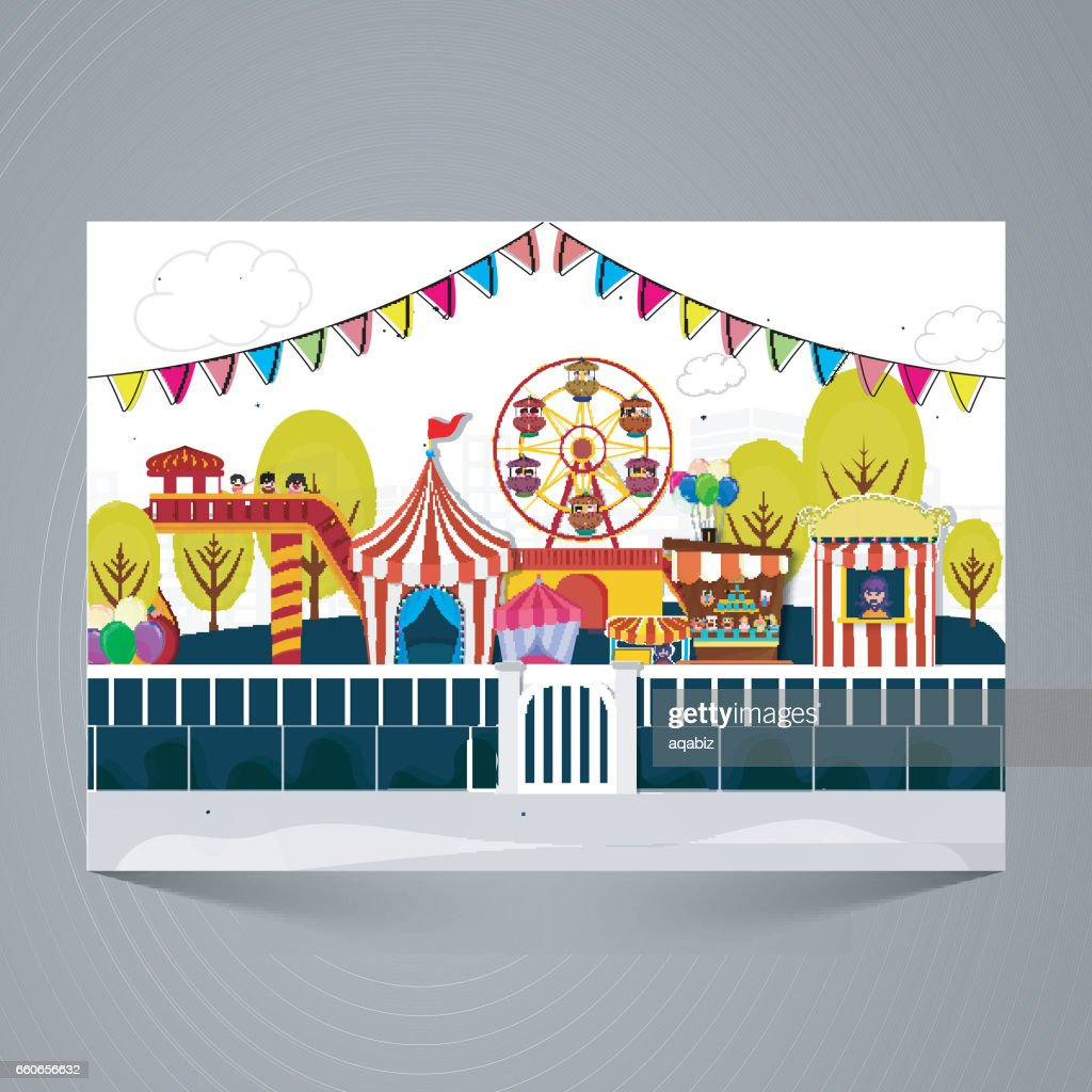 View of Amusement Park or Funfair. Creative Kids Carnival design, Can be used as poster, banner or flyer design.