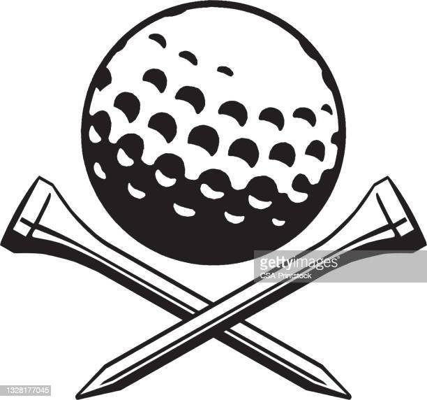 stockillustraties, clipart, cartoons en iconen met view of golf ball with golf ball stand crossed under - tee