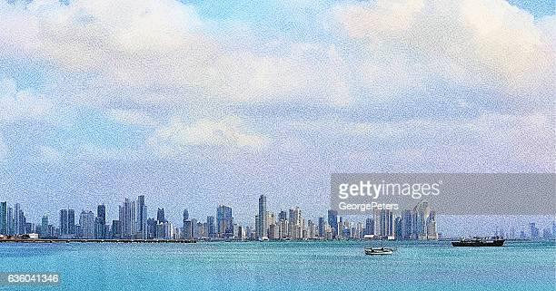 view of panama city, panama and causeway - panama city stock illustrations, clip art, cartoons, & icons