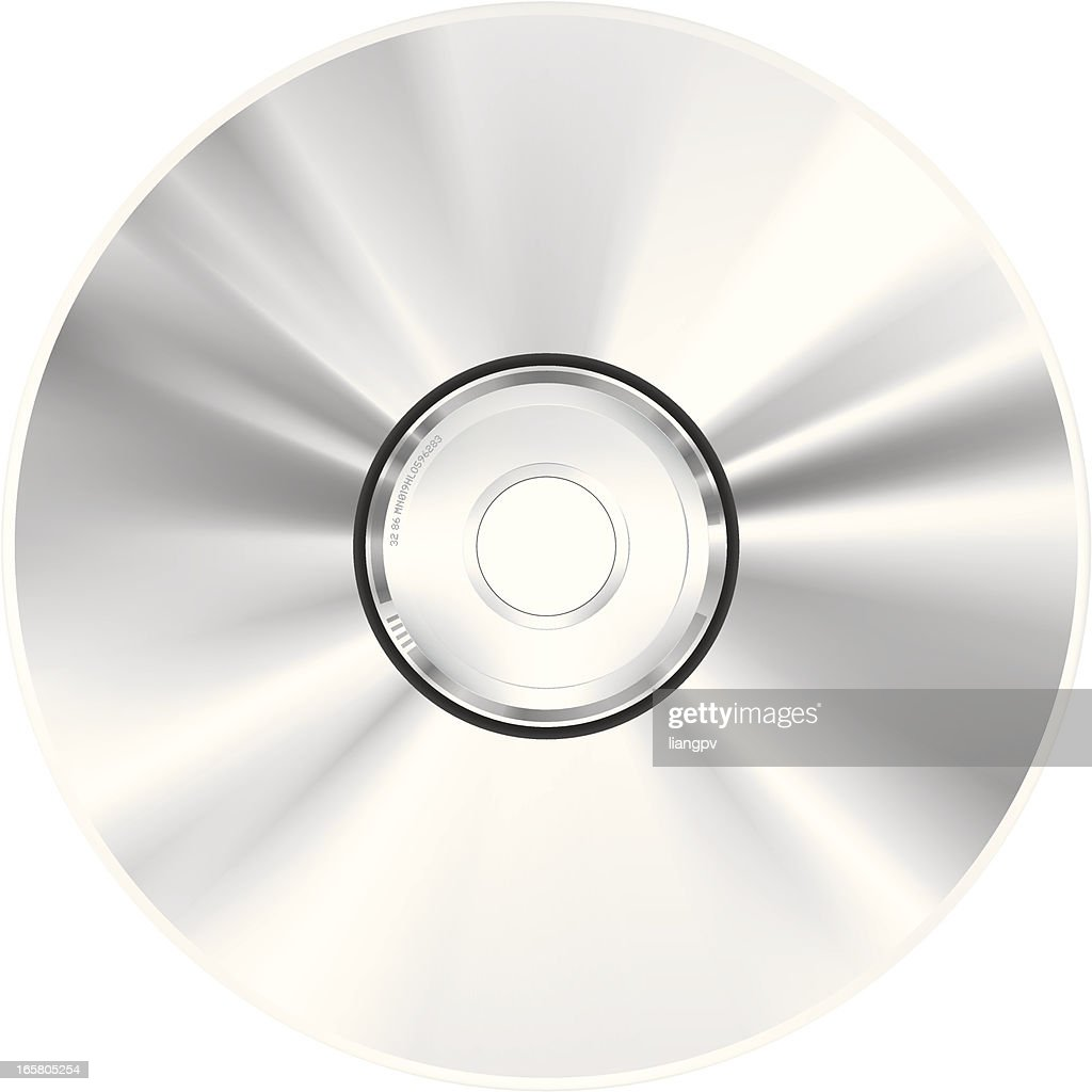 View of single CD-ROM disc, on white background