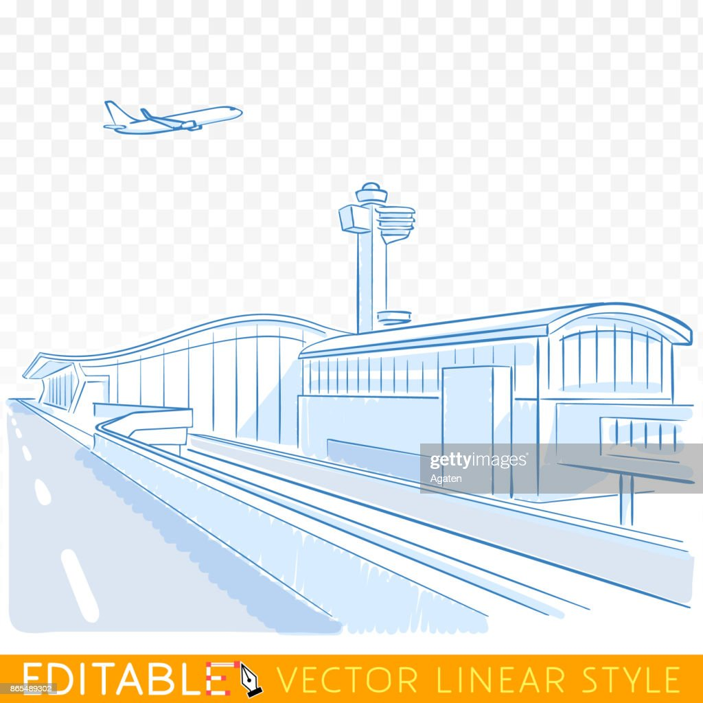 View on airport. Plane above runway. Editable sketch in blue ink style. Hand drawn doodle vector illustration.