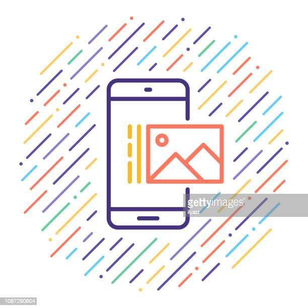 view pictures on mobile vector line icon illustration - tourism stock illustrations