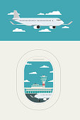 View plane window at Airport arrivals and departures travel sky and clound background bule, Vector Illustration
