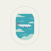 View plane window see plane fly at travel sky and clound background bule, Vector Illustration
