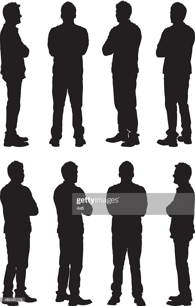Views of casual man silhouettes