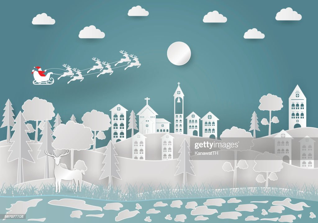 Views of the house in winter. Snow Urban Countryside Landscape City Village with Happy new year and Merry christmas,paper art and craft style. vector illustration
