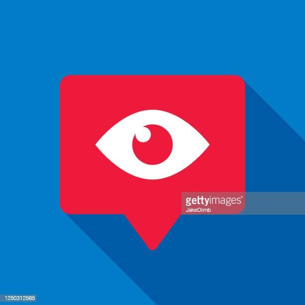 illustrazioni stock, clip art, cartoni animati e icone di tendenza di icona bolla vocale visualizzazioni piatta - guardare il paesaggio