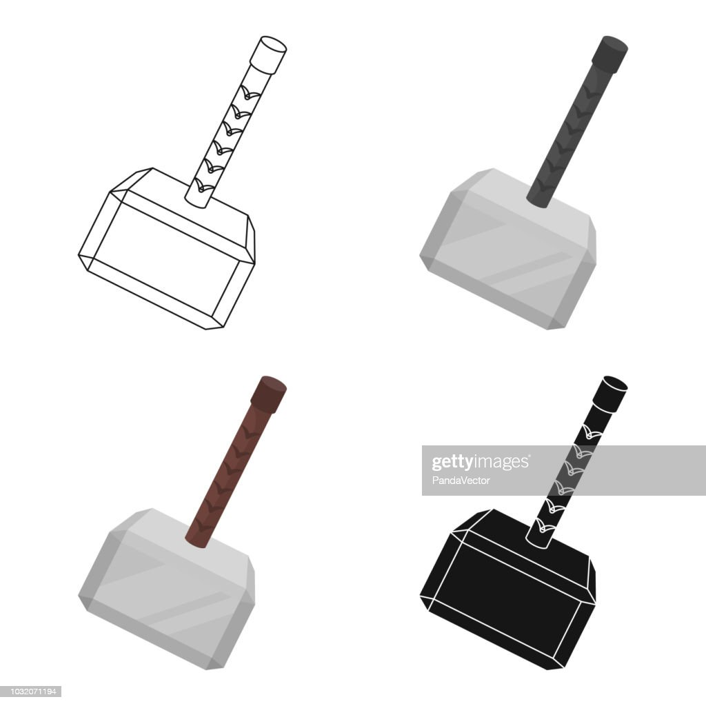 Viking battle hammer icon in cartoon style isolated on white background. Vikings symbol stock vector illustration web