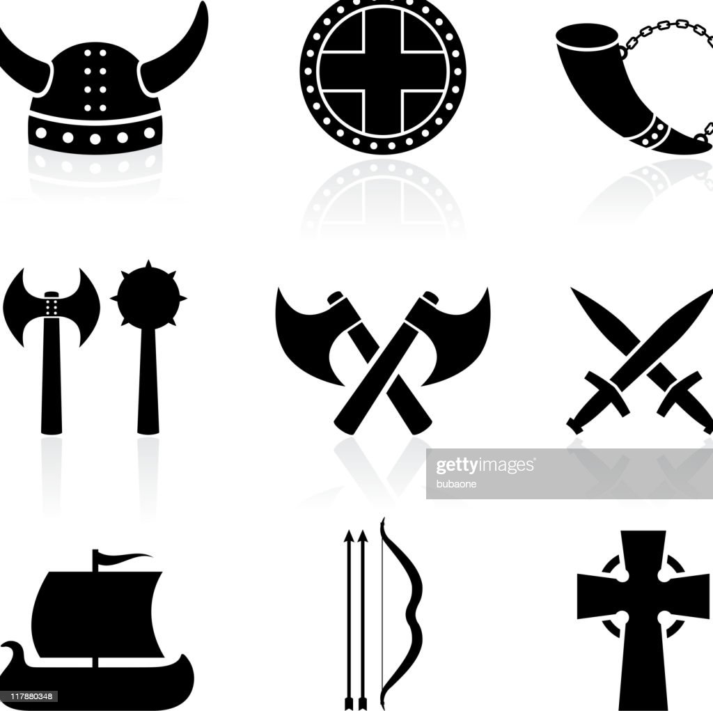 viking black and white royalty free vector icon set
