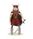 Viking cartoon character. A muscular, long-haired warrior in a helmet holds a sword in his hands. Vector illustration. Flat style.
