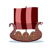 Viking cartoon character. Wooden Viking sail boat. Vector illustration. Flat style.