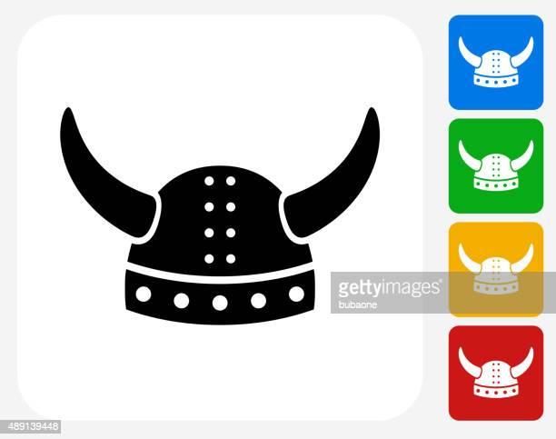 Viking Helmet Icon Flat Graphic Design