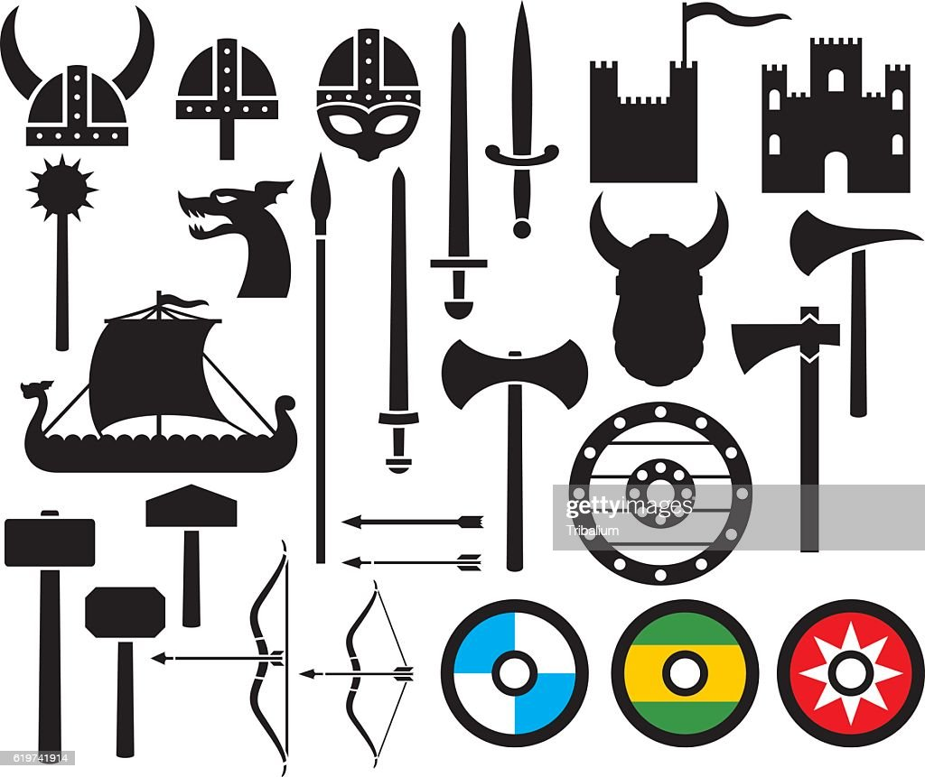 viking icons collection (sword, round wooden shield)