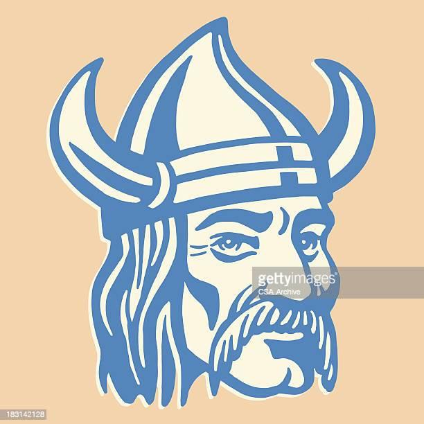 Viking Man in Helmet