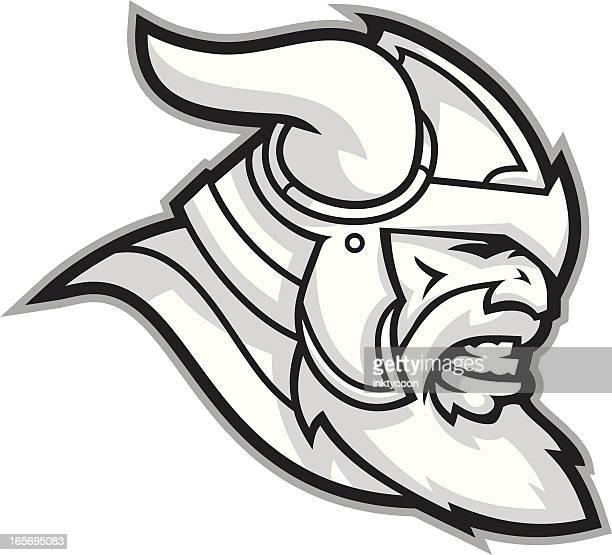 Viking Mascot Black and White