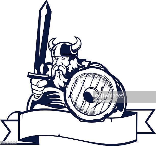 viking mascot - one colour - sports organization stock illustrations, clip art, cartoons, & icons
