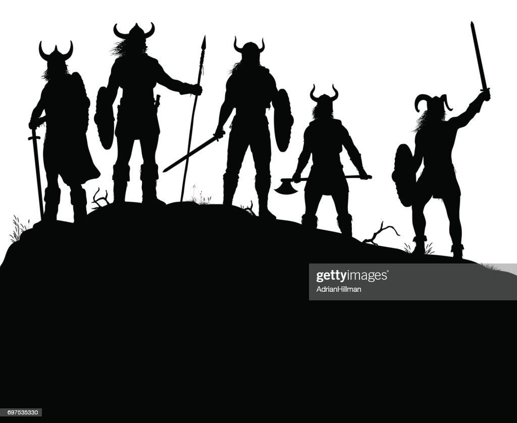 Viking raiders silhouette