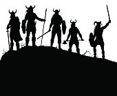 Viking raiders silhouette