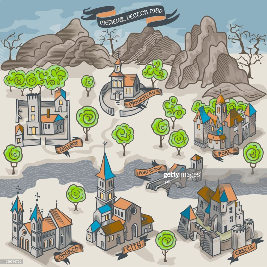 Viking settlement vector map buider isometric color illustration of scandinavian norseman buildings collection