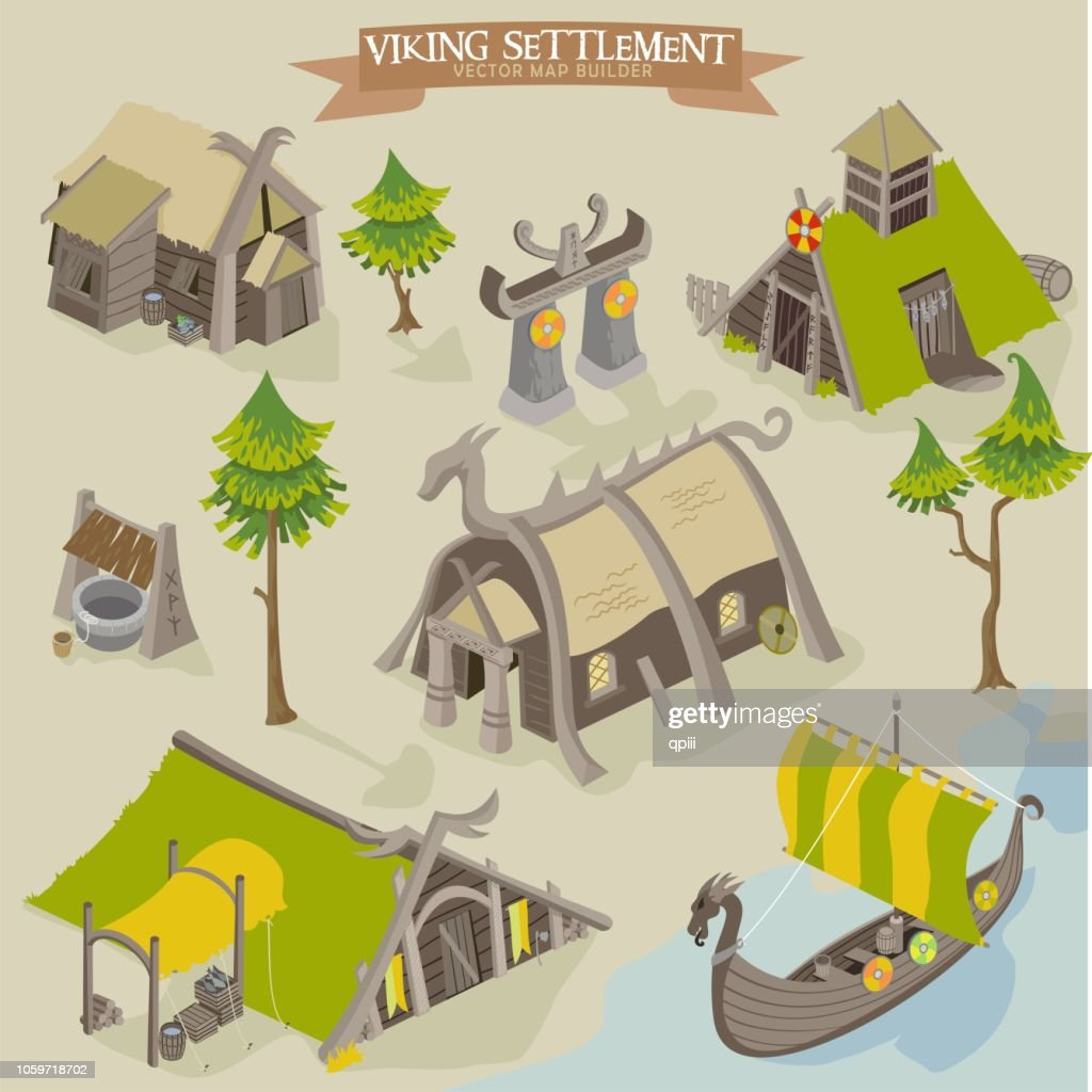 Viking settlement vector map buider isometric illustration of scandinavian norseman buildings collection