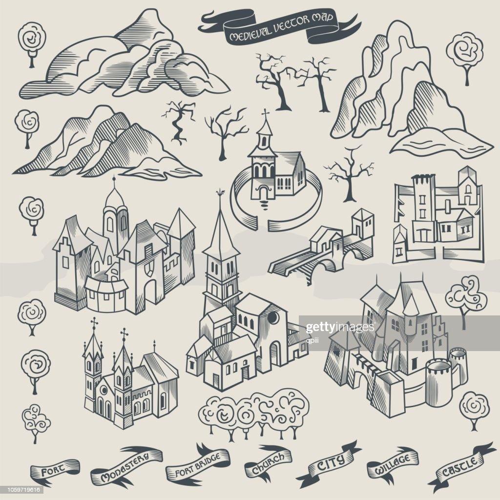 Viking settlement vector map buider isometric monochrome illustration of scandinavian norseman buildings collection
