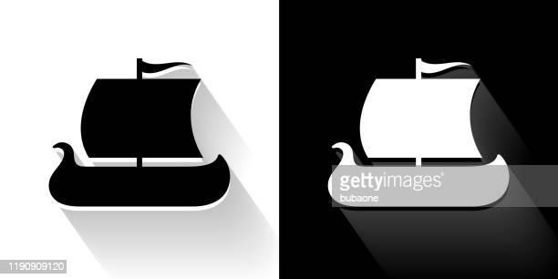 viking ship black and white icon with long shadow - sailing ship stock illustrations