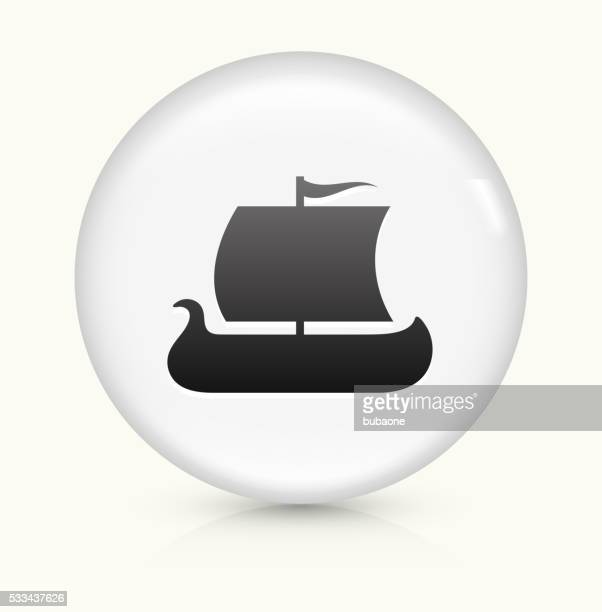 viking ship icon on white round vector button - sail stock illustrations, clip art, cartoons, & icons