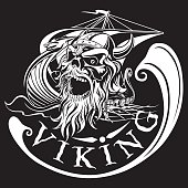 Viking skull on a background of Drakkar, warship, vector illustration