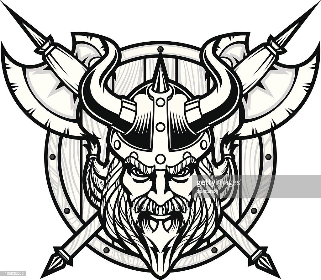 Viking Warrior Head Bampw High-Res Vector Graphic - Getty ...