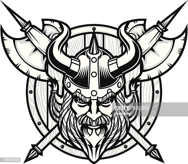 Viking Warrior Head B&W