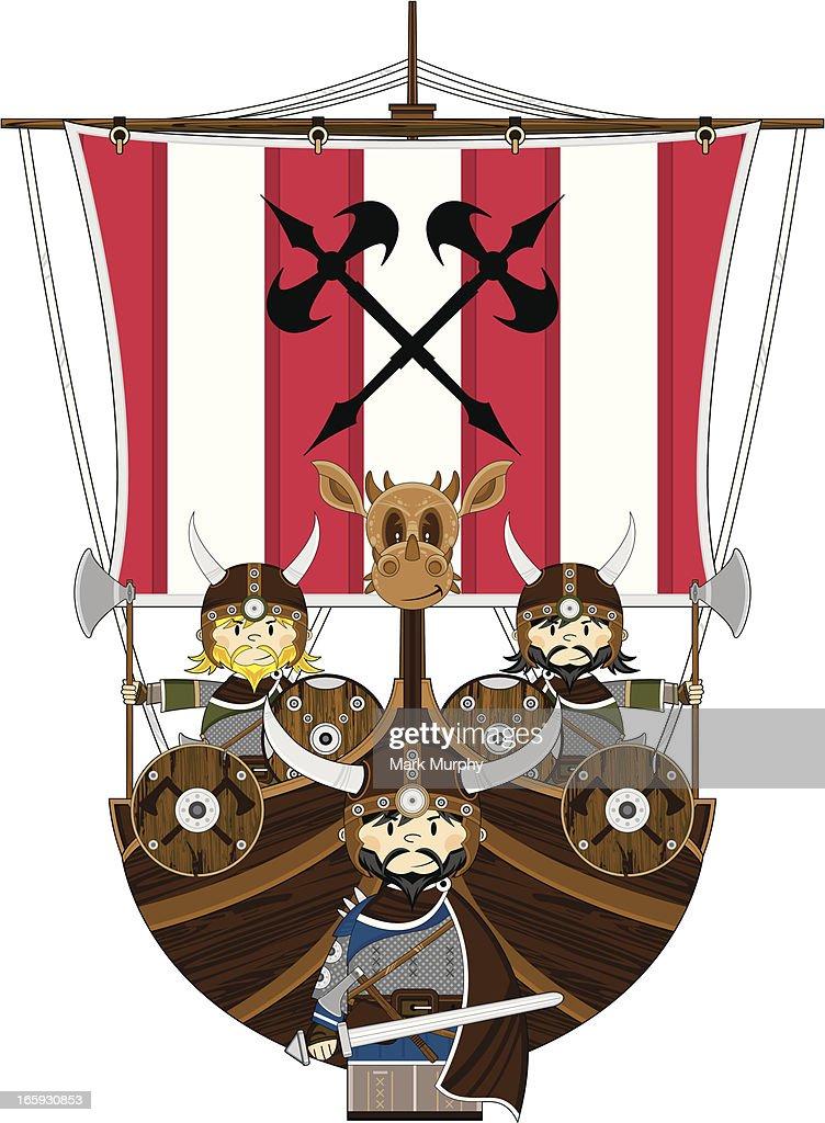 Viking Warriors and Warship : stock illustration