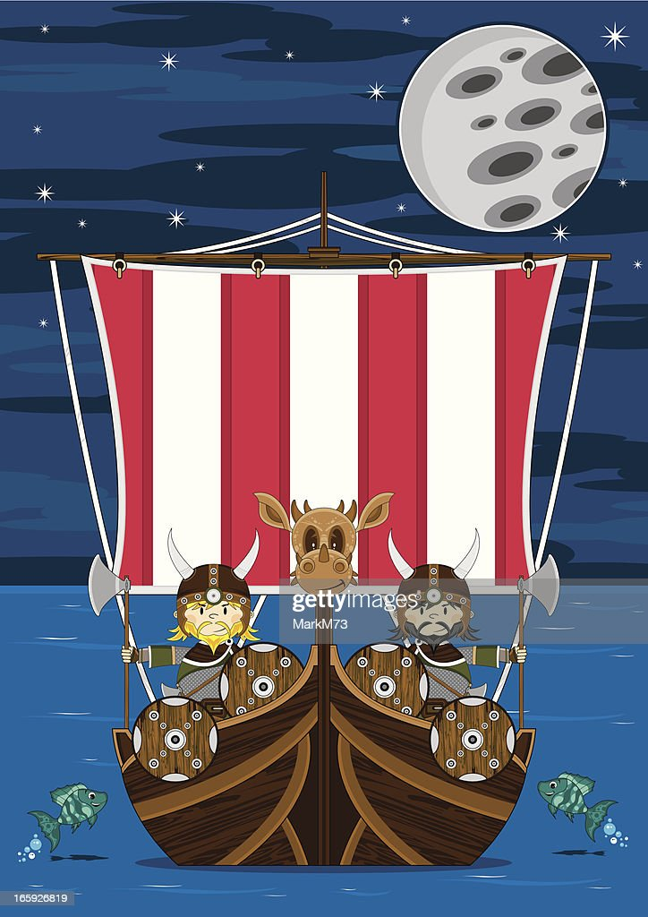 Viking Warriors on Warship at Sea : stock illustration
