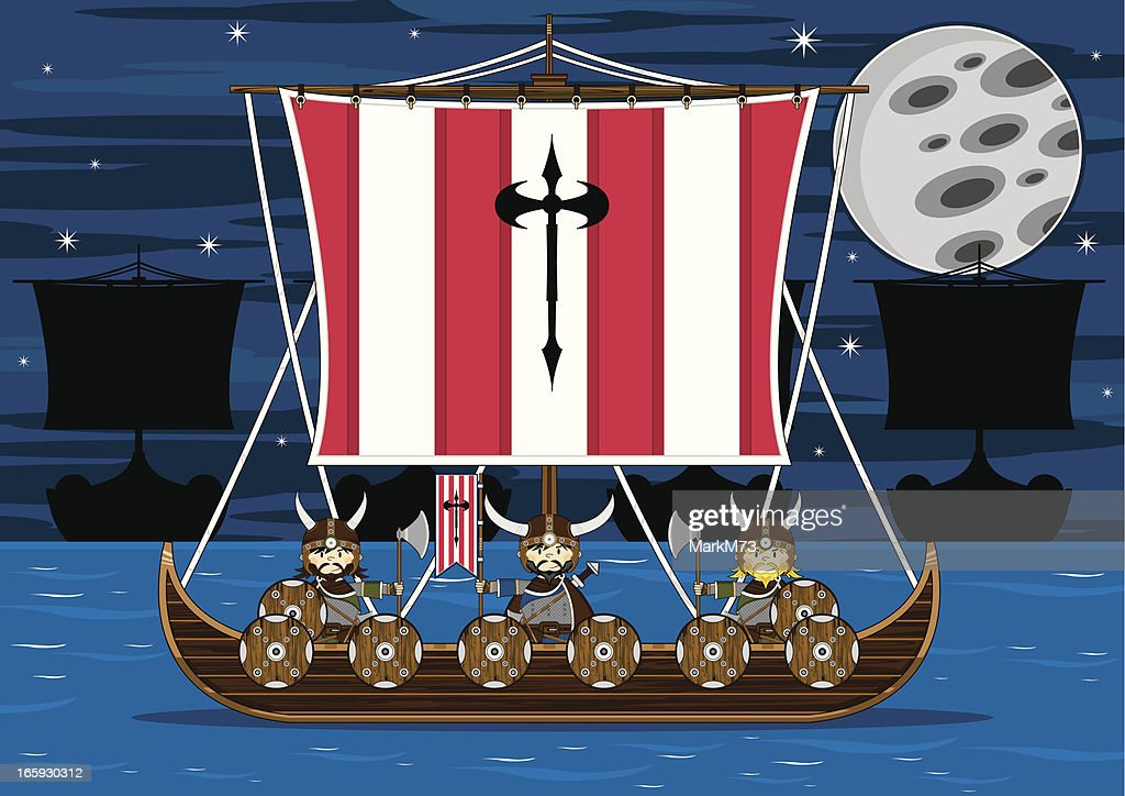 Viking Warriors on Warship at Sea : stock illustration