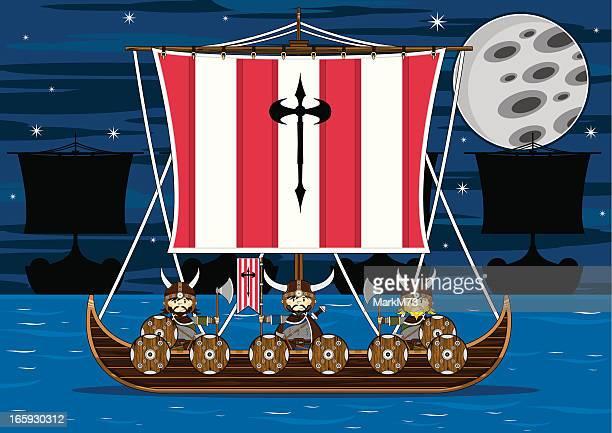 Viking Warriors auf Kriegsschiff am Meer
