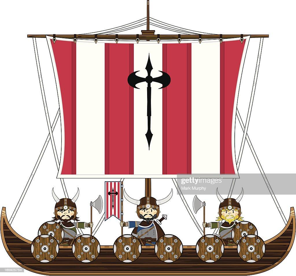 Viking Warriors on Warship : stock illustration