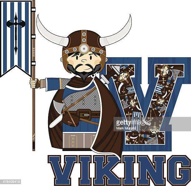 Viking with Banner Learning Letter V