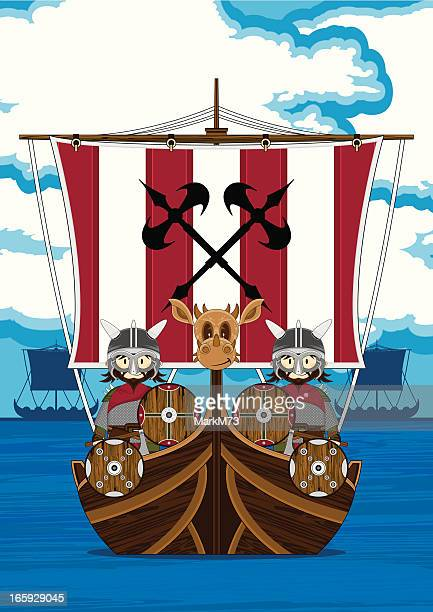 Vikings on Longship at Sea