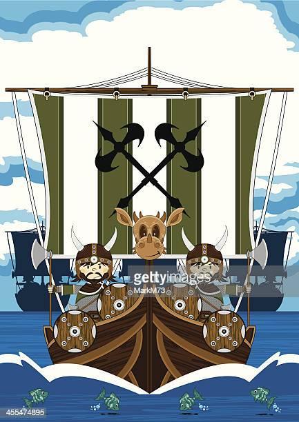 Vikings auf Kriegsschiff am Meer