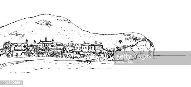 village bay coast sketch vector - promenade stock illustrations, clip art, cartoons, & icons