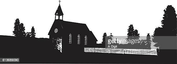 village church - steeple stock illustrations, clip art, cartoons, & icons
