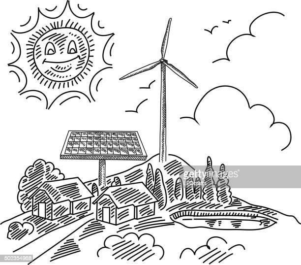 eco village drawing - pen and ink stock illustrations