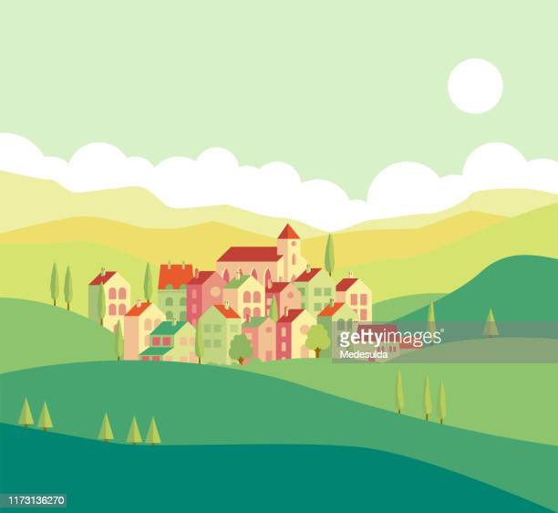 illustrazioni stock, clip art, cartoni animati e icone di tendenza di village forest - villaggio
