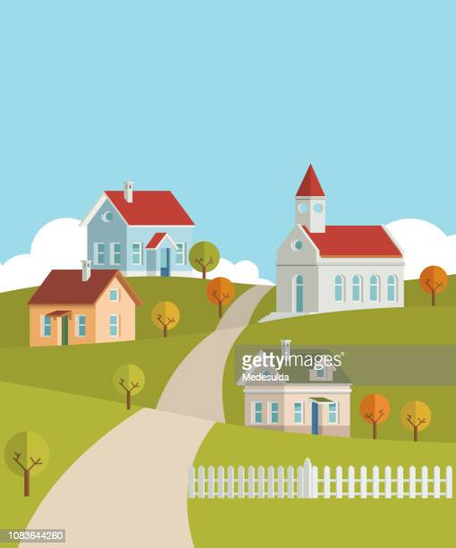 village house vector - chapel stock illustrations, clip art, cartoons, & icons