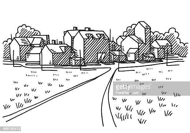 village landscape road drawing - village stock illustrations