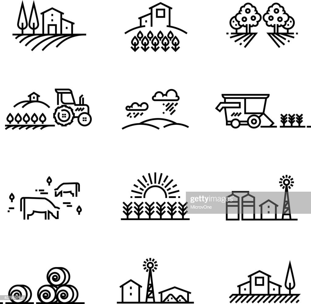 Village line landscapes with agricultural field and farm buildings. Linear farming vector concepts